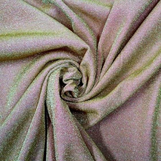 Tessuto maglina di lamè elasticizzata fashion -  rosa e oro