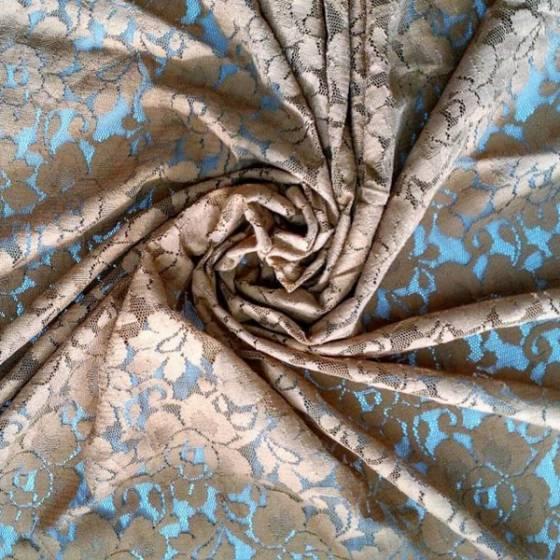 Tessuto in pizzo motivo floreale stile retrò - nero e tiffany