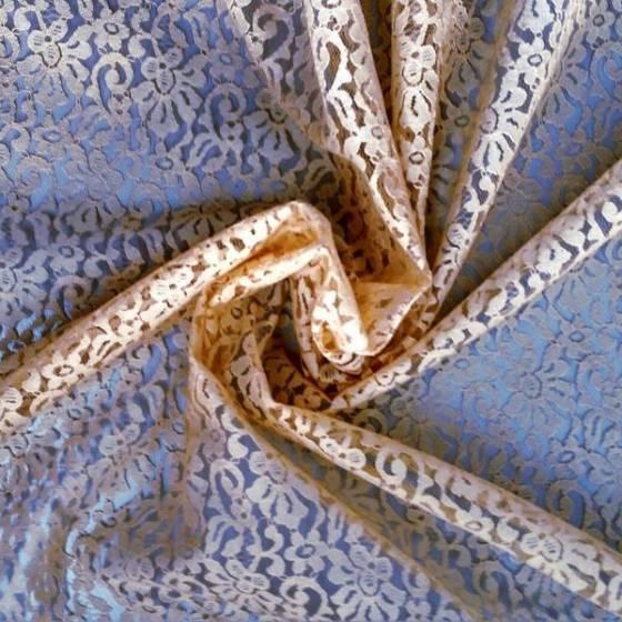 Tessuto in pizzo fantasia floreale - cipria