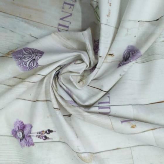 Tessuto in puro cotone a fantasia lavanda - crema e viola