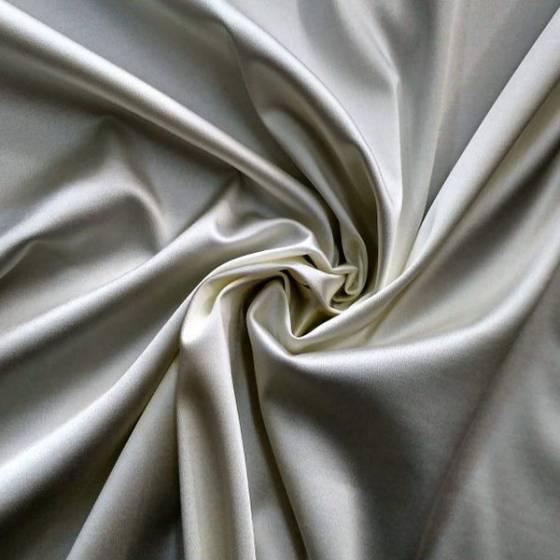 Tessuto raso elasticizzato lucido - bianco