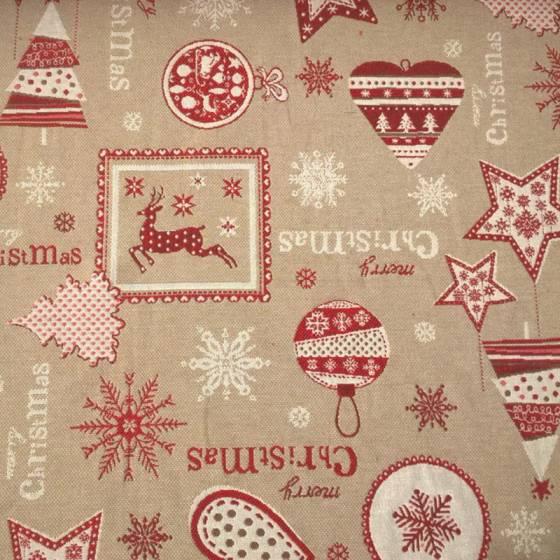 Tessuto arredo natalizio - sfondo tortora