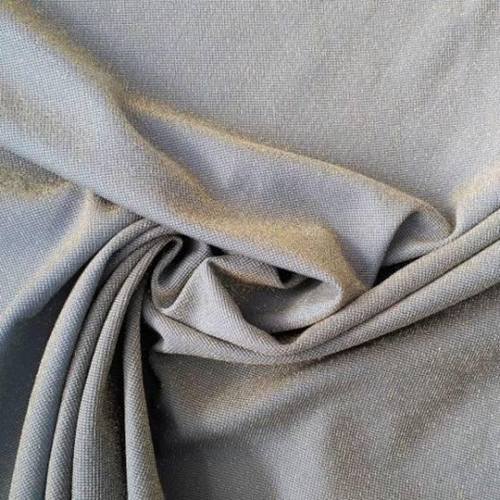 Tessuto in maglina di lamè con inserti argento - celeste