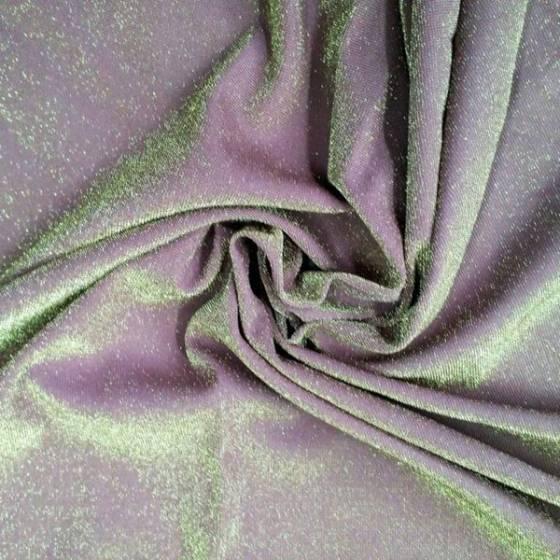 Tessuto per abiti in lamé con inserti in oro - glicine