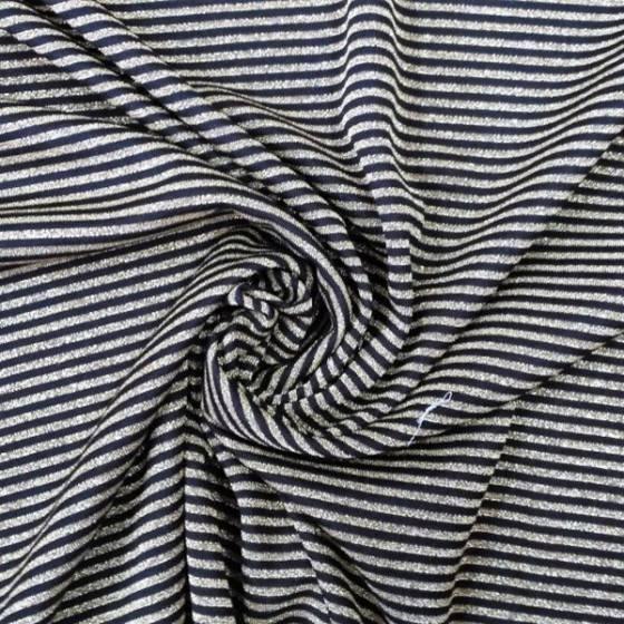 Tessuto in maglina di lamé a righe oro - nero