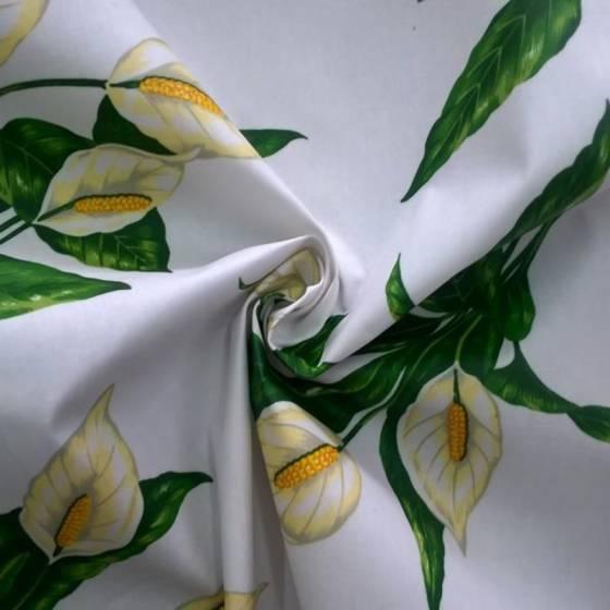 Tessuto plastificato Bottaro motivo fiori calle - sfondo bianco