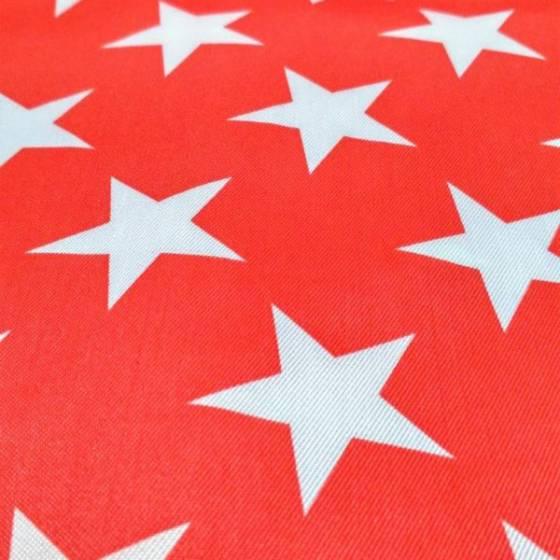 Tessuto raso stampato con stelle bianche - sfondo rosso