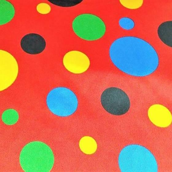 Tessuto raso motivo a pois colorati - rosso