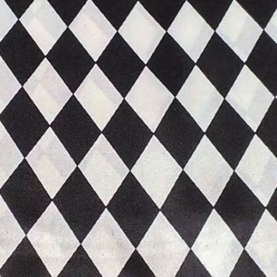 Tessuto in raso stampato a rombi - bianco e nero