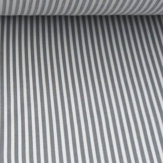 Tessuto in cotone a righe grigie - bianco