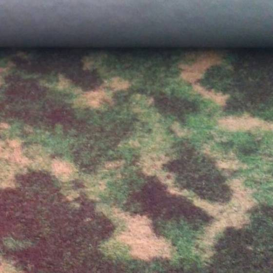 Tessuto in lana a fantasia mimetica - verde e marrone