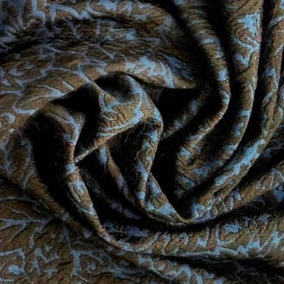 Tessuto elasticizzato a fantasia floreale goffrata - blu
