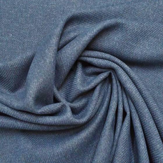 Tessuto pannetto di lana effetto melange - blu