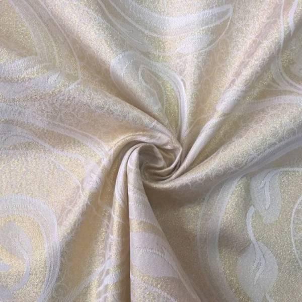 Tessuto arredo double face con motivi oro - panna