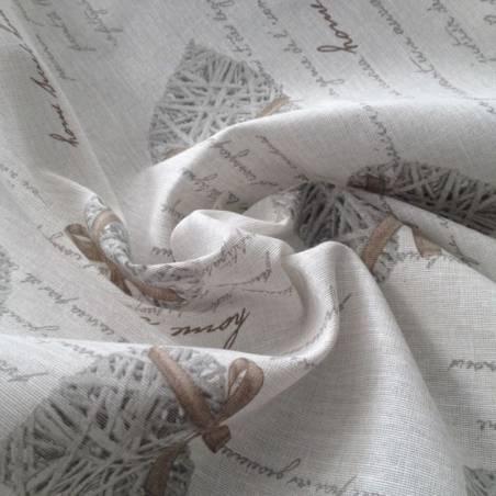Tessuto arredo motivo a cuori shabby  e scritte - beige
