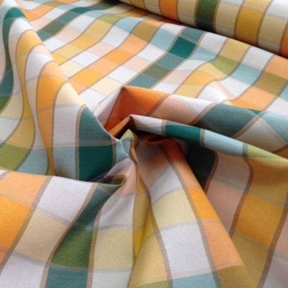 Tessuto per tovaglie in cotone resinato a quadretti - verde arancione e beige