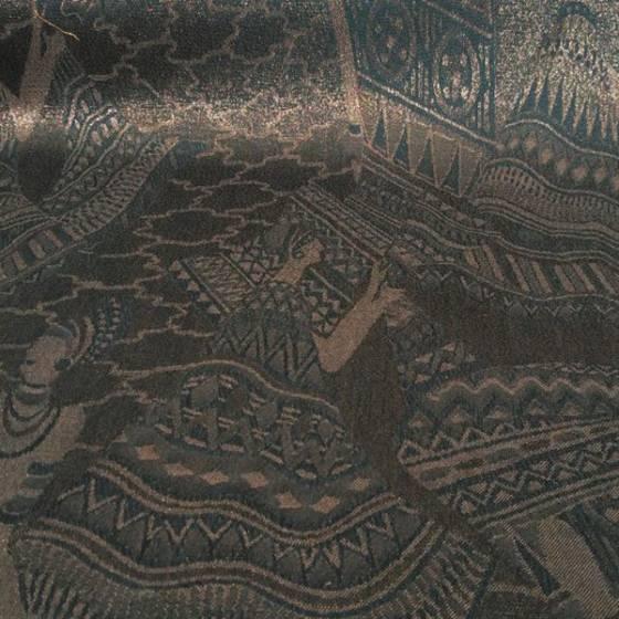 Tessuto fantasia etnica ed effetto lurex - bronzo e marrone