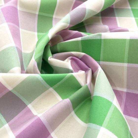 Tessuto per tovaglie in cotone resinato a quadretti - verde viola e giallo