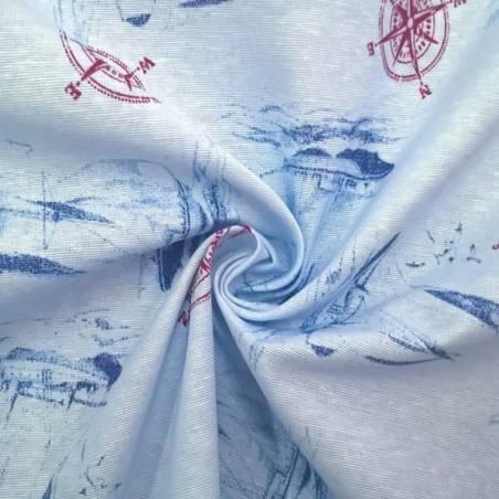 Tessuto per arredo motivo marinaro - azzurro e rosso