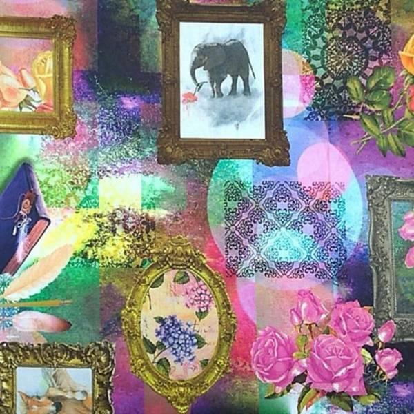 Tessuto per arredo fantasia quadri con animali