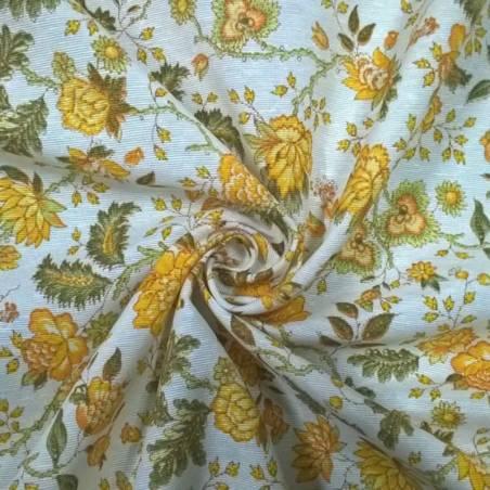 Tessuto in misto cotone fantasia fiori ad effetto vintage - bianco