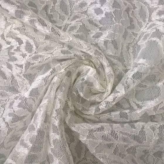 Tessuto in pizzo motivo floreale - bianco