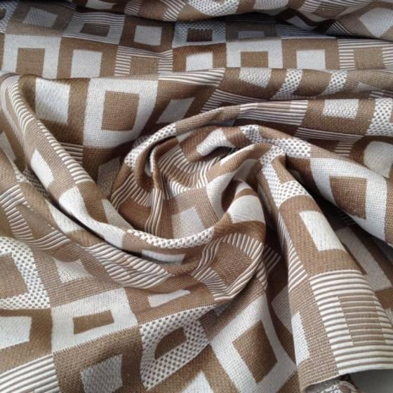 Tessuto per arredo fantasia geometrica a quadri - tortora e bianco