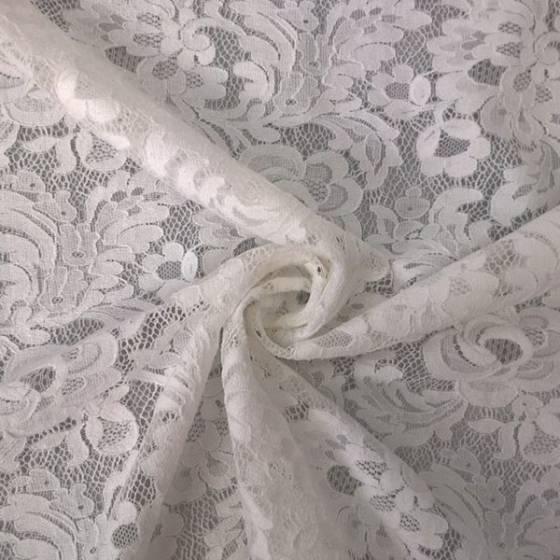 Tessuto per abito in pizzo elasticizzato motivo floreale - bianco