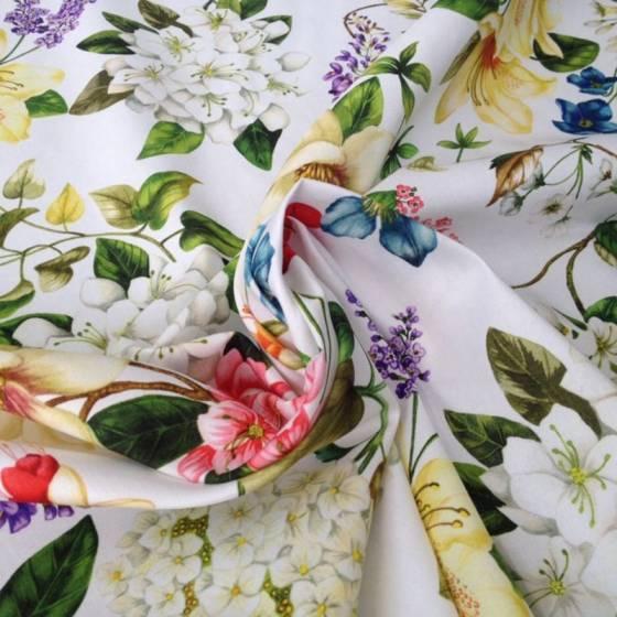 Tessuto cotone Bottaro motivo floreale - sfondo bianco
