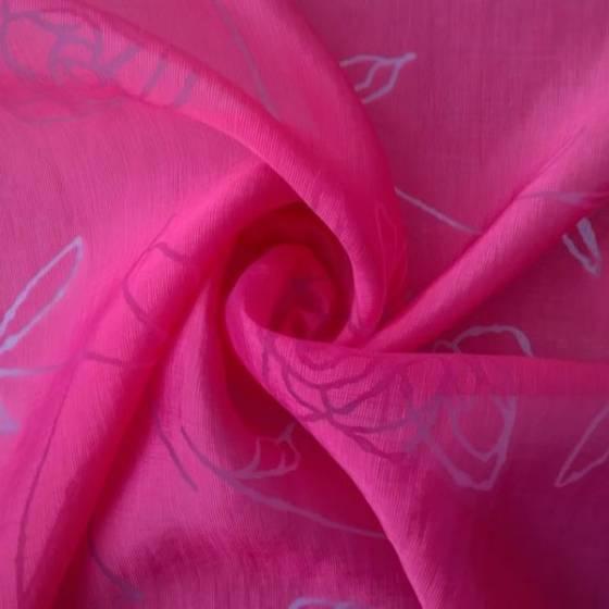 Tessuto in misto seta a fantasia floreale - rosa