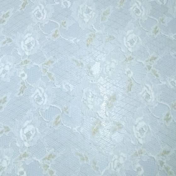 Tessuto in pizzo a rete fantasia floreale oro - bianco