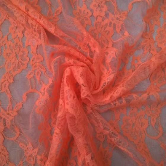 Tessuto in pizzo a rete fantasia floreale - arancione
