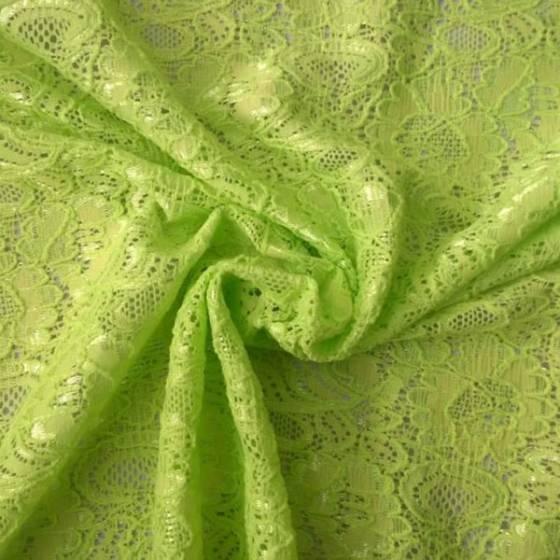 Tessuto in pizzo a rete fantasia a fiori - verde lime