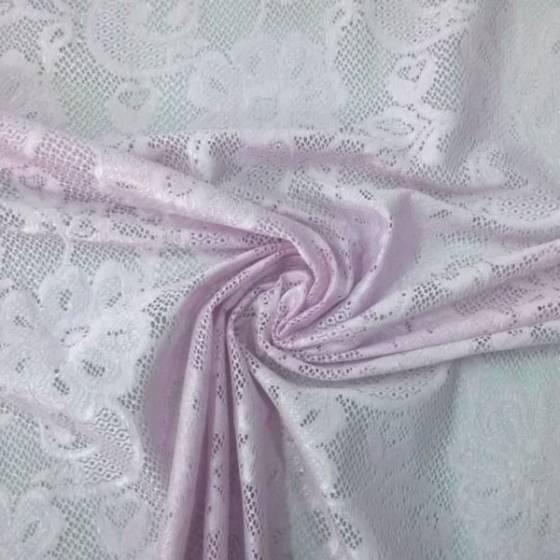 Tessuto in pizzo a rete fantasia a fiori - rosa