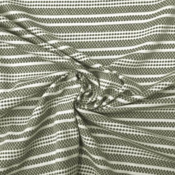 Tessuto maglina in cotone motivo a righe bianche - verde
