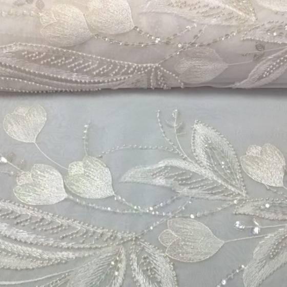 Tessuto in pizzo ricamato con motivo floreale brillanti - bianco