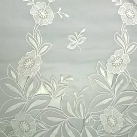 Tessuto in pizzo ricamato a fantasia floreale e foglie - bianco