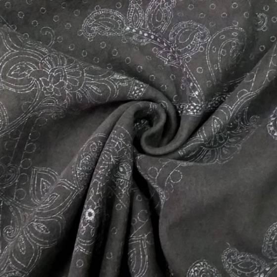Tessuto in misto lana a fantasia damascato - nero