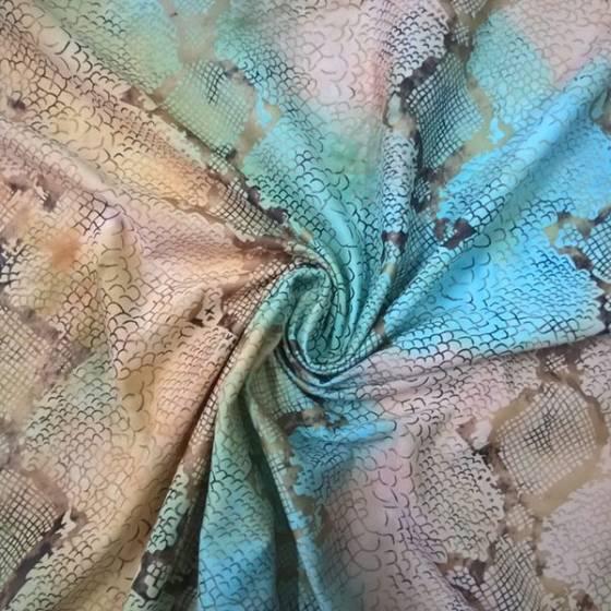 Tessuto per abiti ad effetto serpente sfumato -  giallo e azzurro