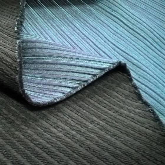 Tessuto per abiti double face a fantasia righe - blu e verde