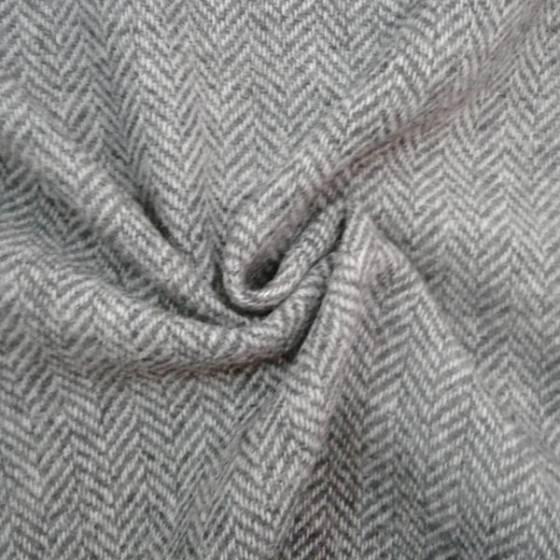 Tessuto per abiti lana spinato - bianco e grigio