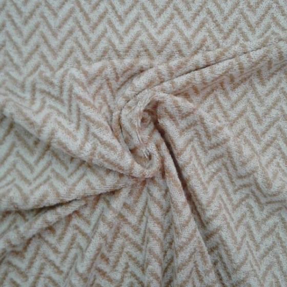 Tessuto per abiti lana motivo geometrico - arancione e panna