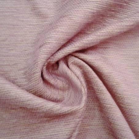 Tessuto per rivestimento in misto cotone cinigliato - rosa e beige