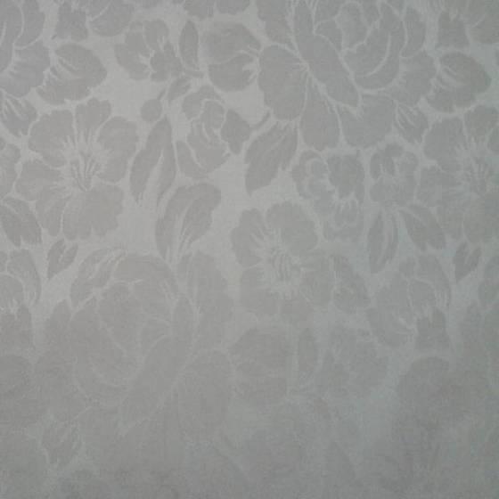 Tessuto arredo classico motivo floreale bianco - sfondo argento