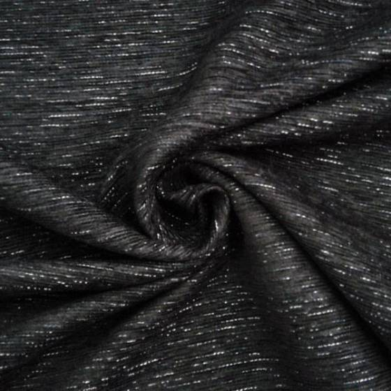 Tessuto rivestimento cinigliato - Nero con tramatura argentata