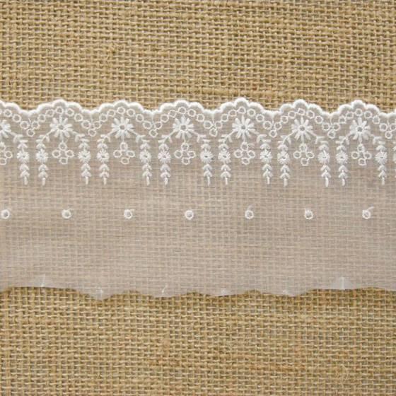 Balza di pizzo sfondo trasparente motivo floreale  - bianco