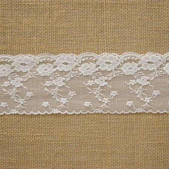 Balza di pizzo sfondo retato motivo floreale  - bianco