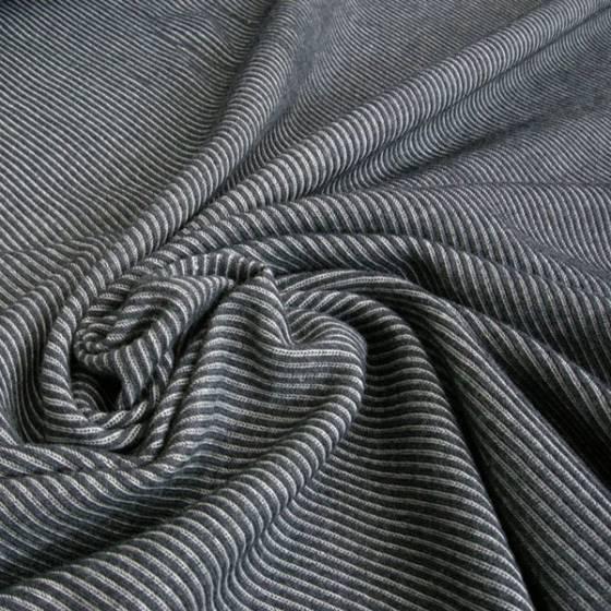 Jersey di cotone fantasia a righe bianche - nero