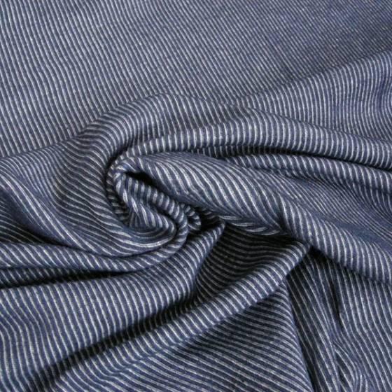 Jersey di cotone fantasia a righe bianche - blu