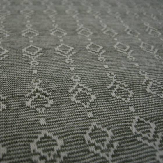 Jersey di cotone fantasia geometrica bianca - grigio